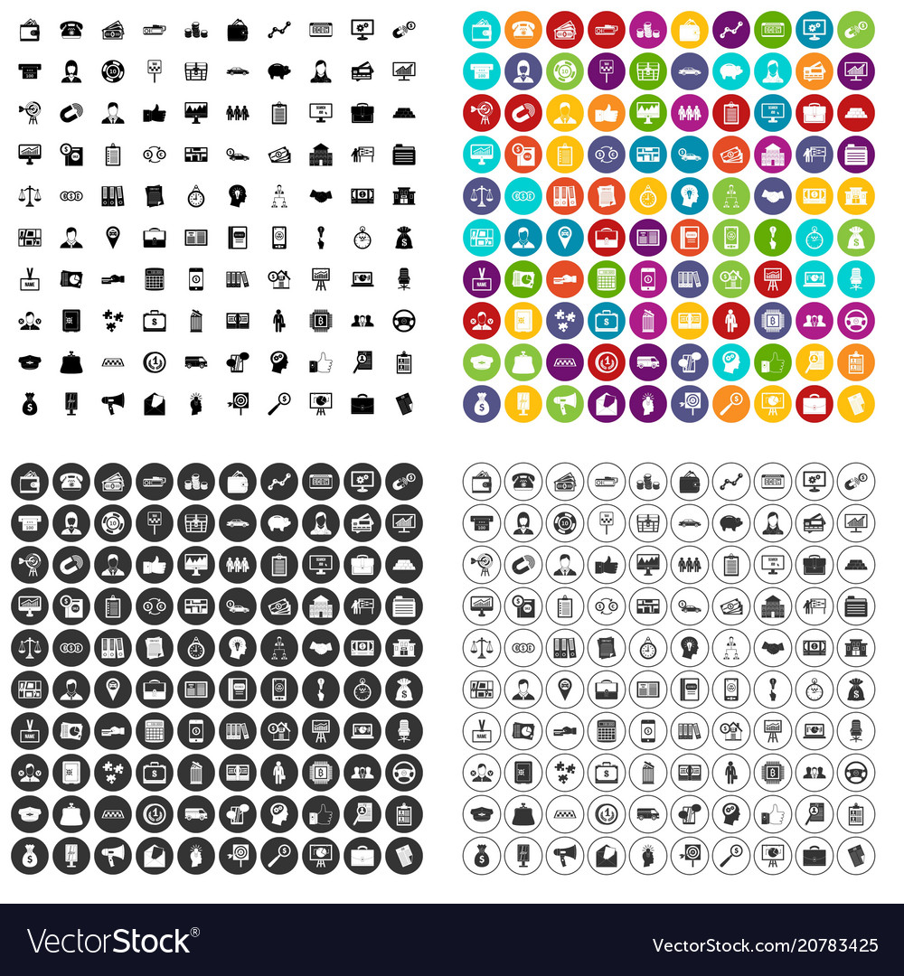 100 business group icons set variant