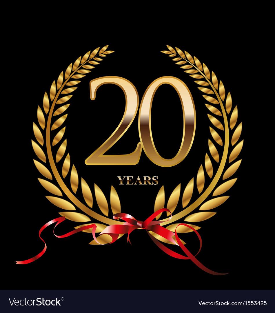20 Years Anniversary Laurel Wreath Royalty Free Vector Image