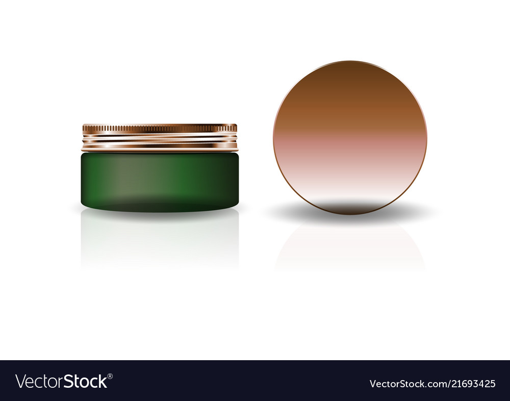 Blank green cosmetic round jar with copper lid