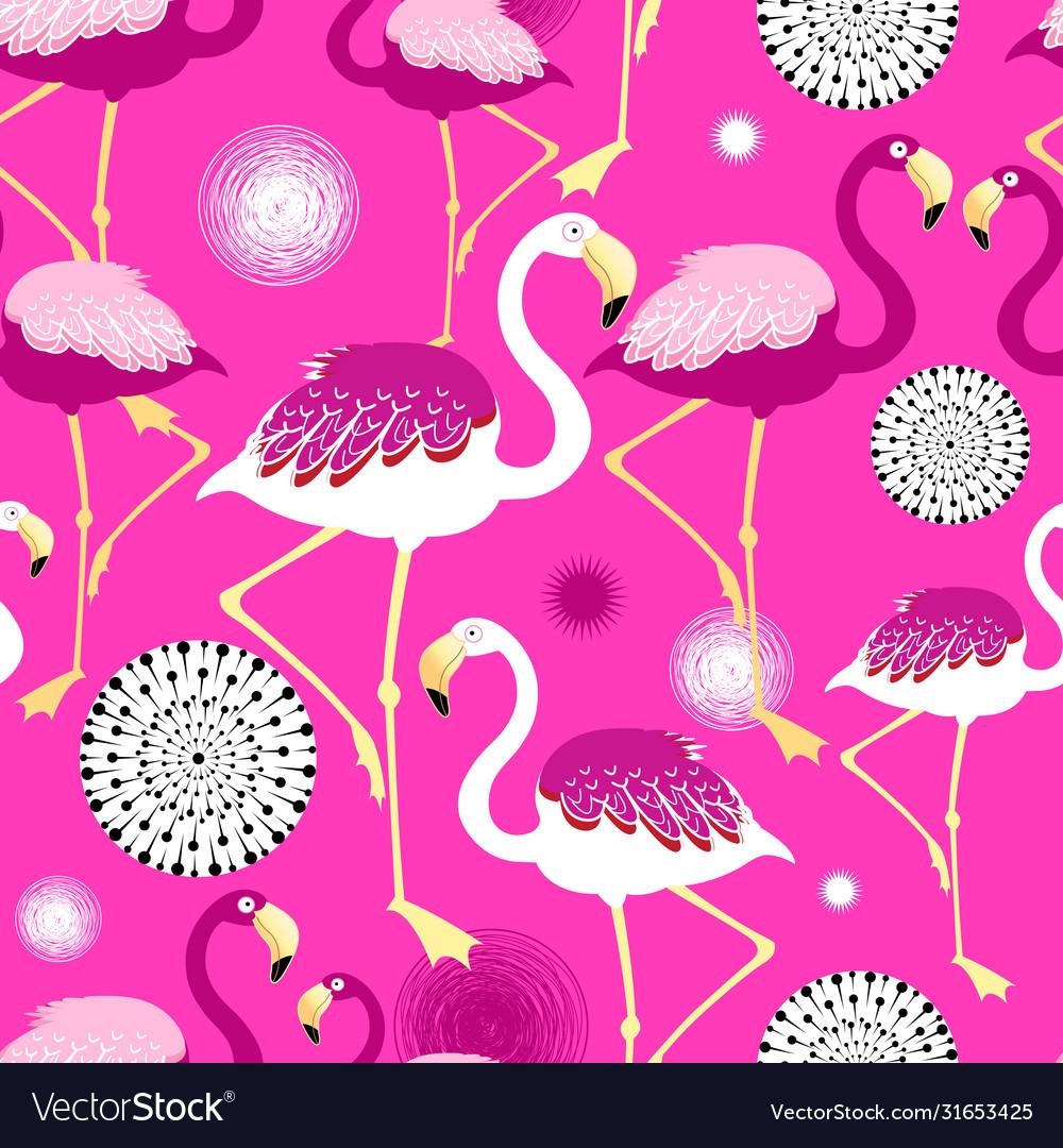 Bright pink flamingos seamless pattern
