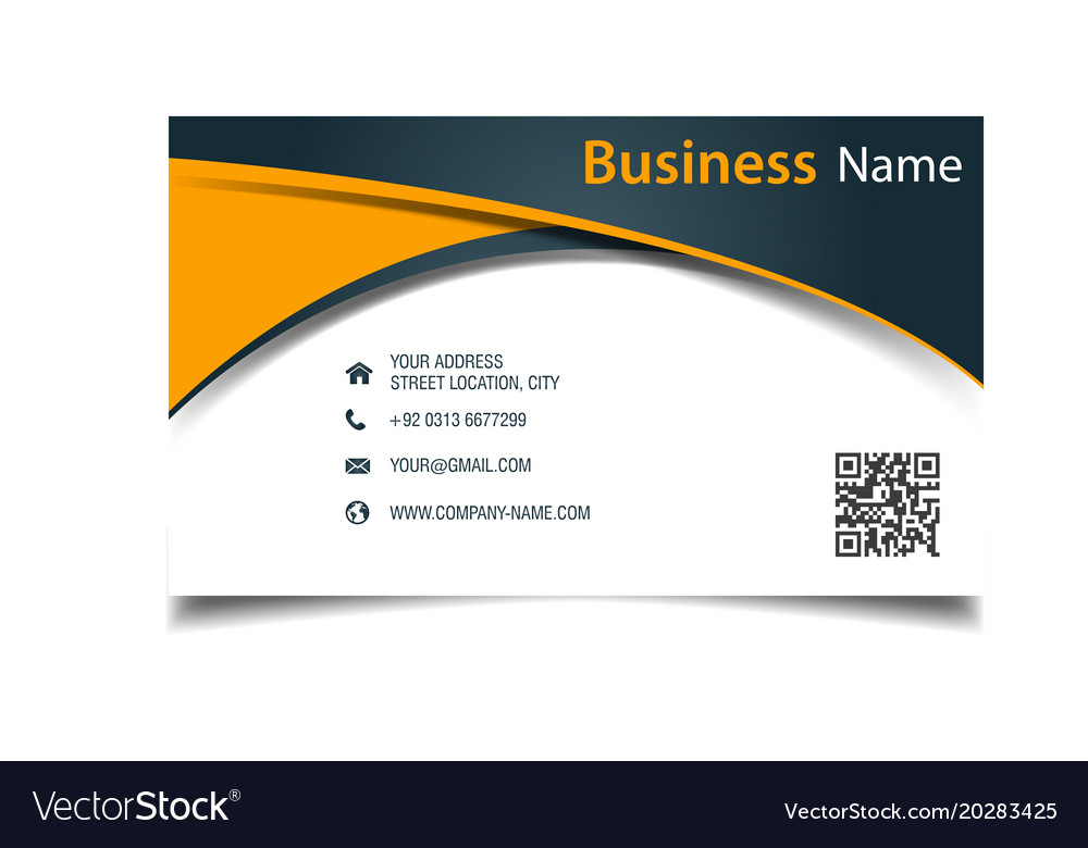 Business card abstract orange curve background vec
