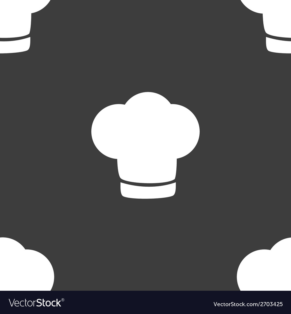Chef cap web icon flat design Seamless gray Vector Image f493daf8fad