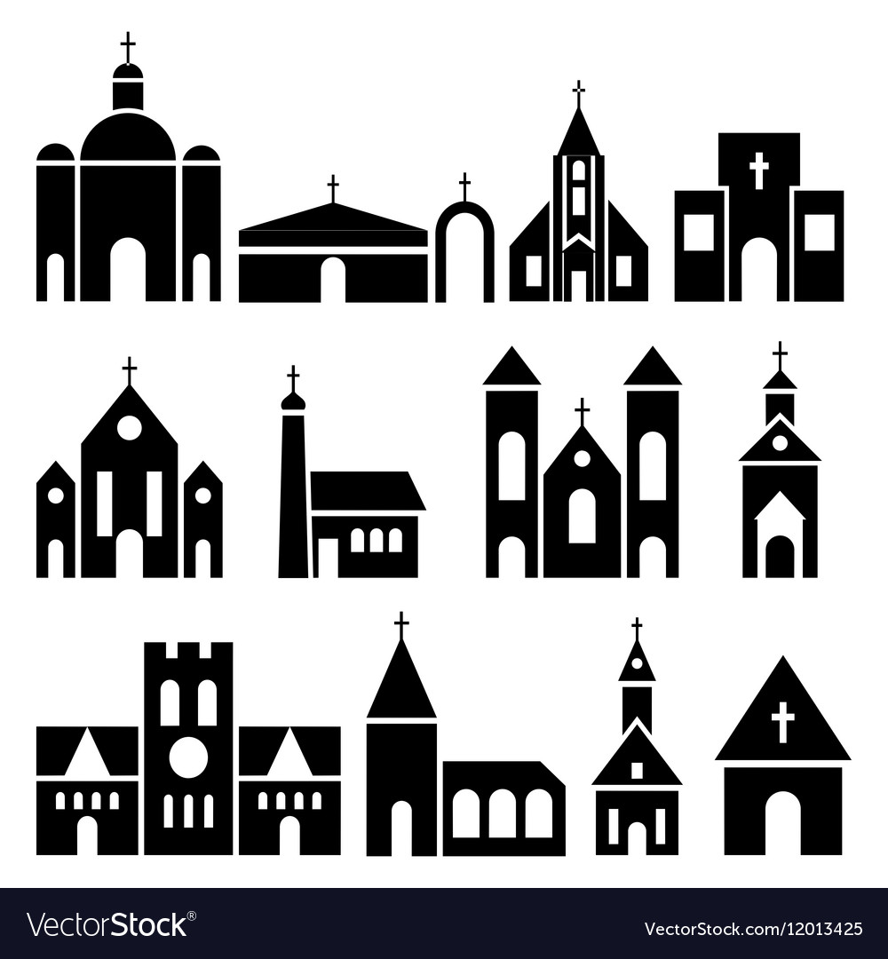 Church building icons basilica and chapel