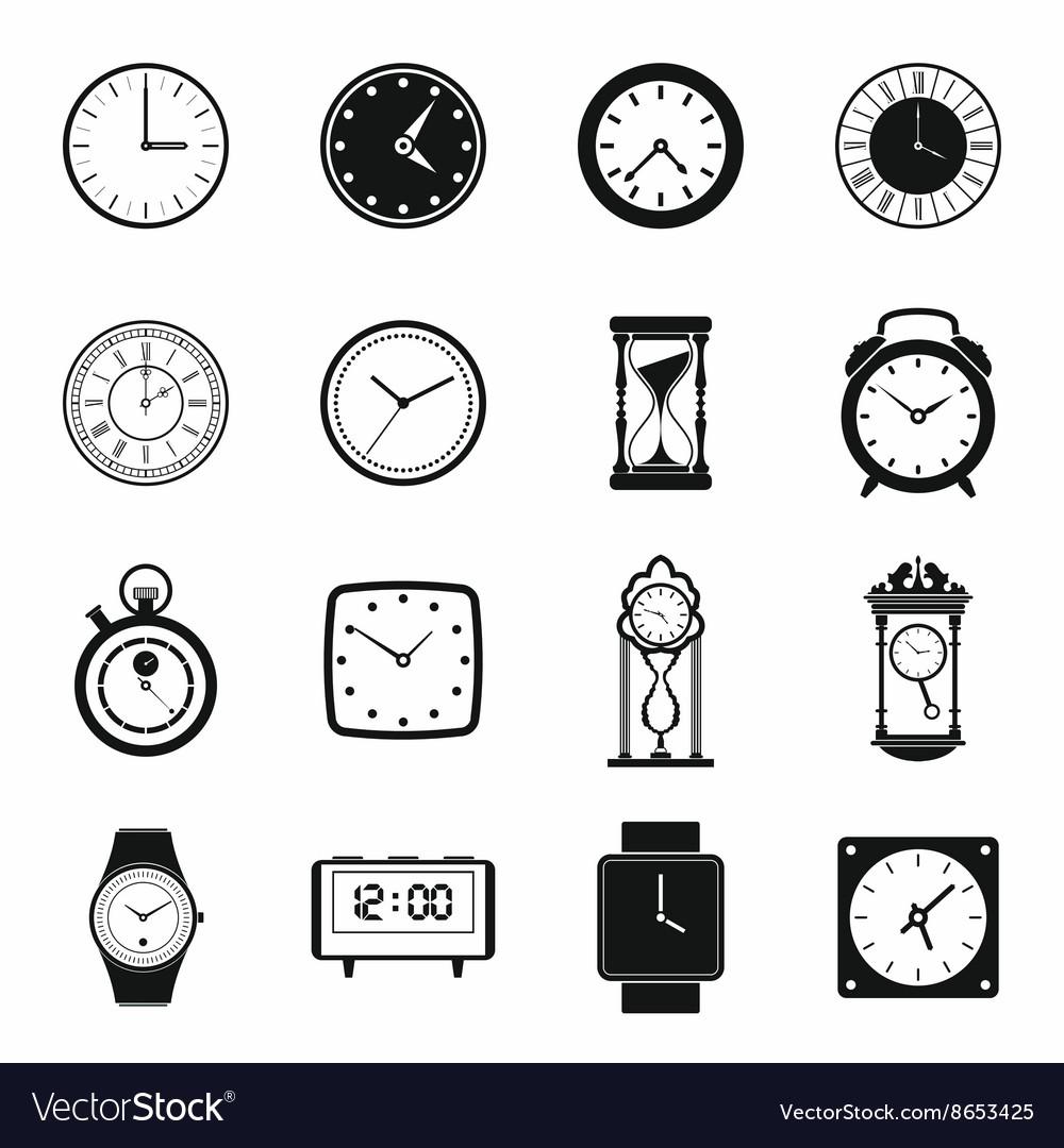 Clocks icons set simple style