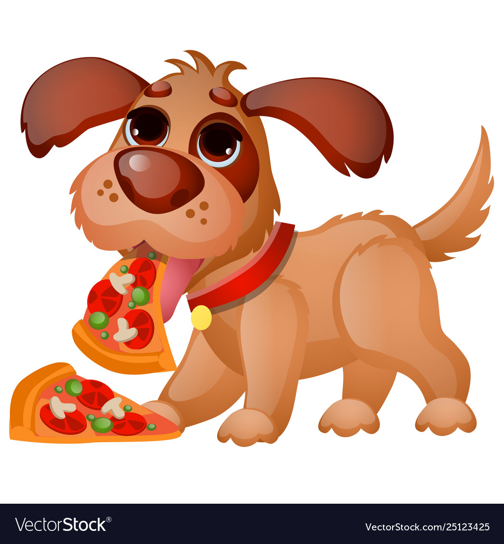 Cute animated dog eating pizza isolated on white