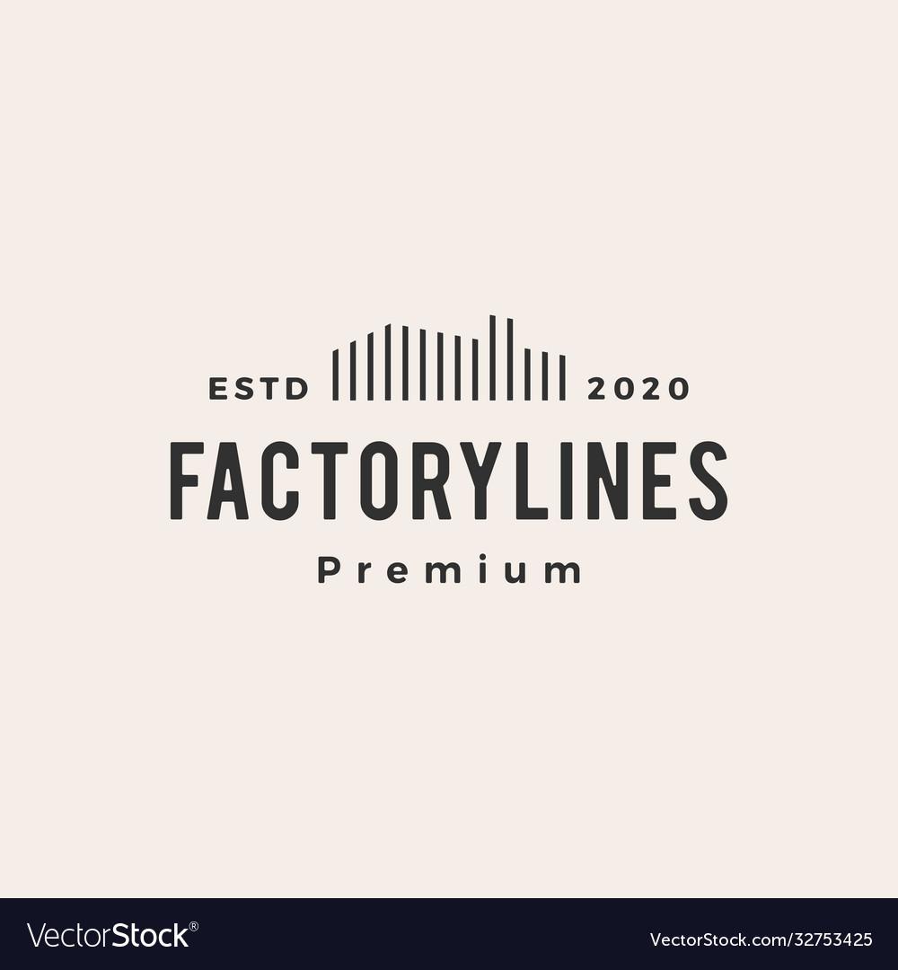 Factory line outline hipster vintage logo icon