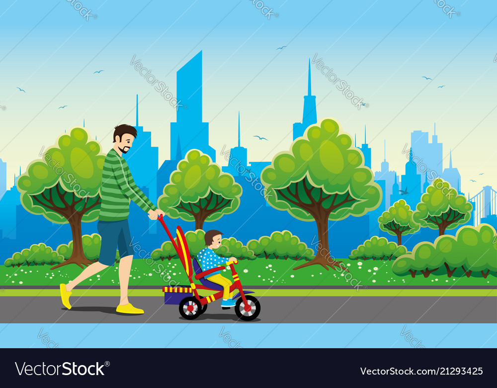 Father and child on a tricycle