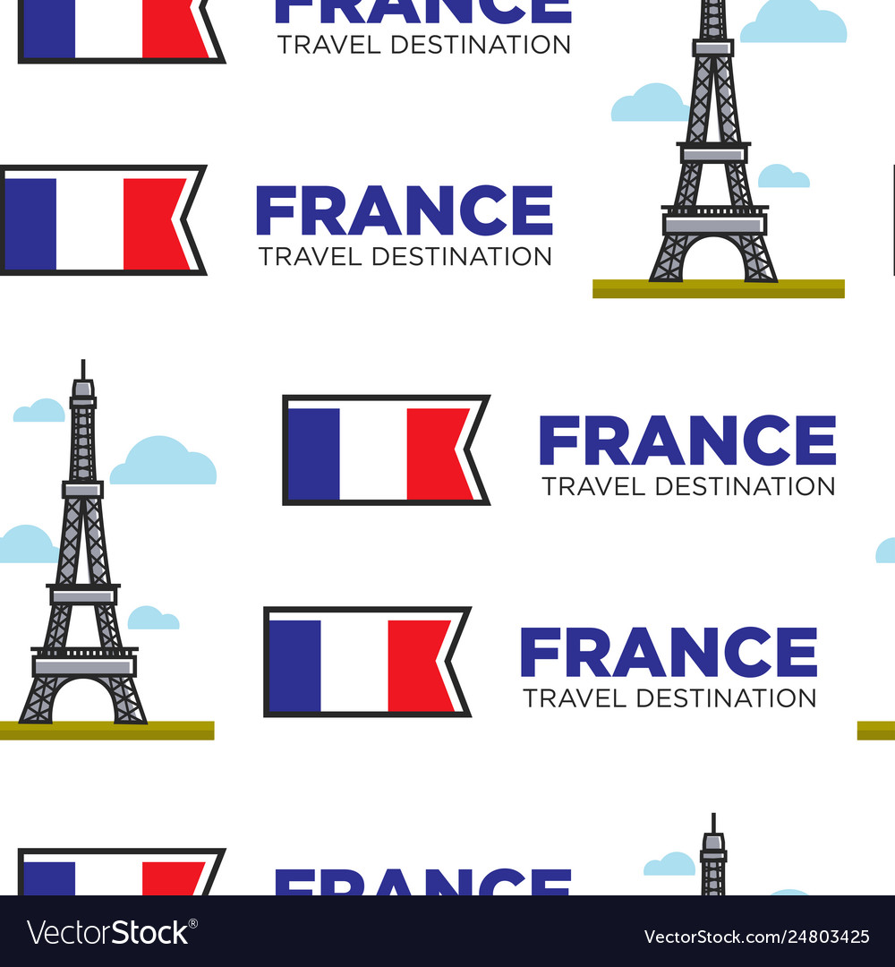 France traveling eiffel tower and french flag