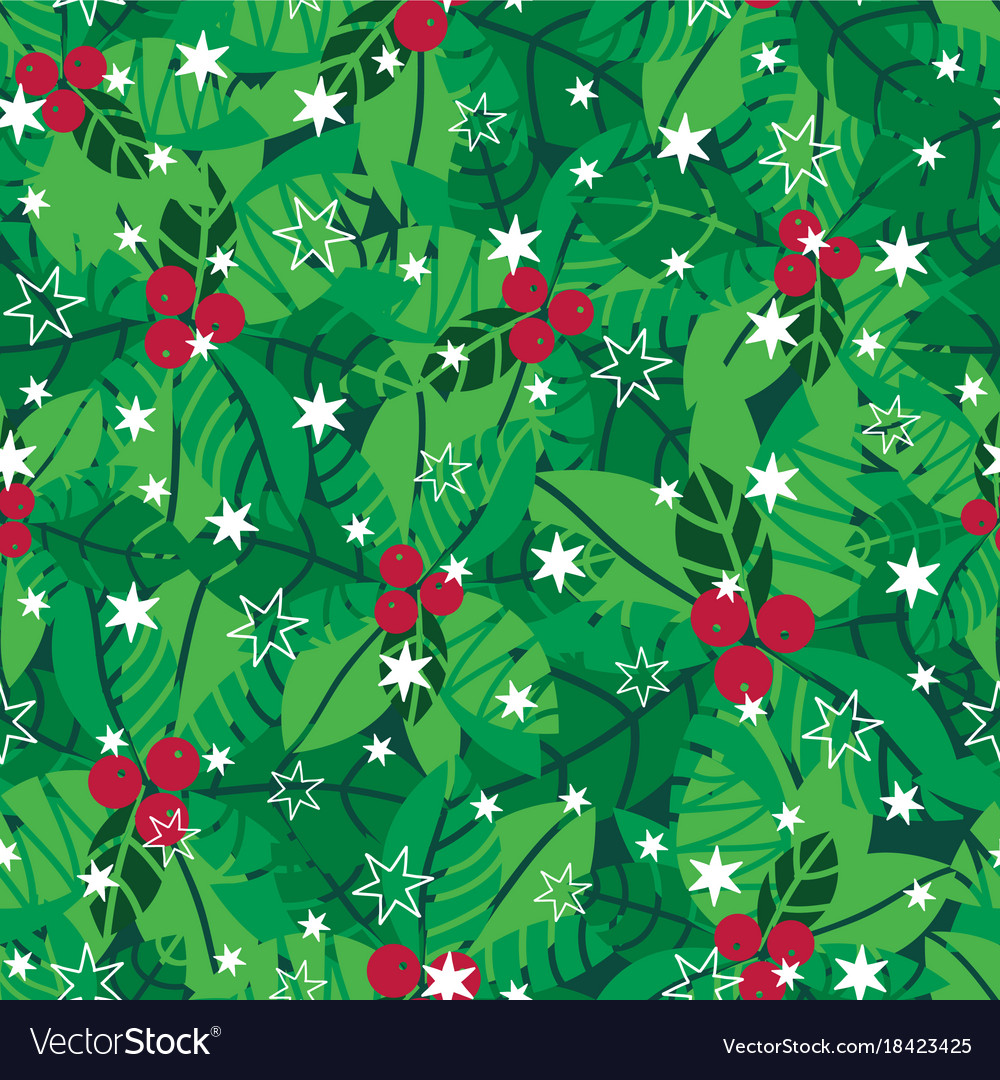 Green red white holly berries and