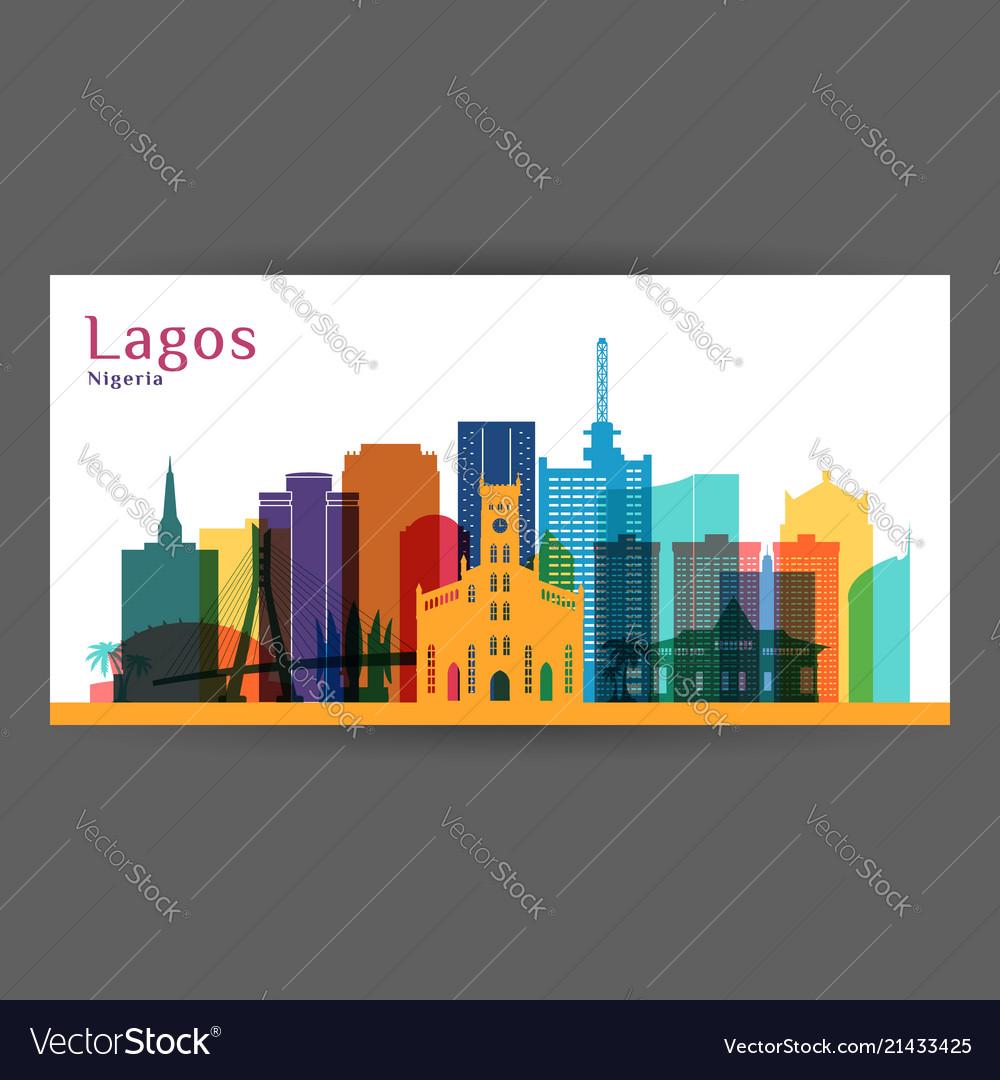 Lagos city architecture silhouette colorful