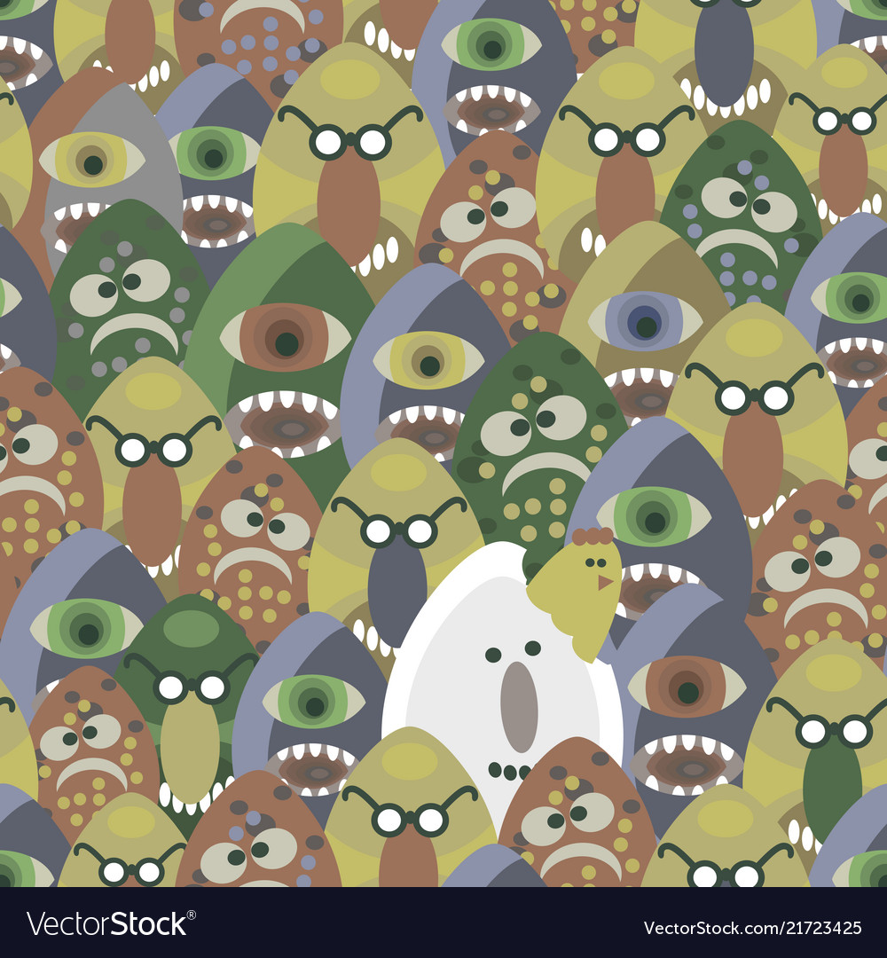 Monsters from the eggs seamless pattern