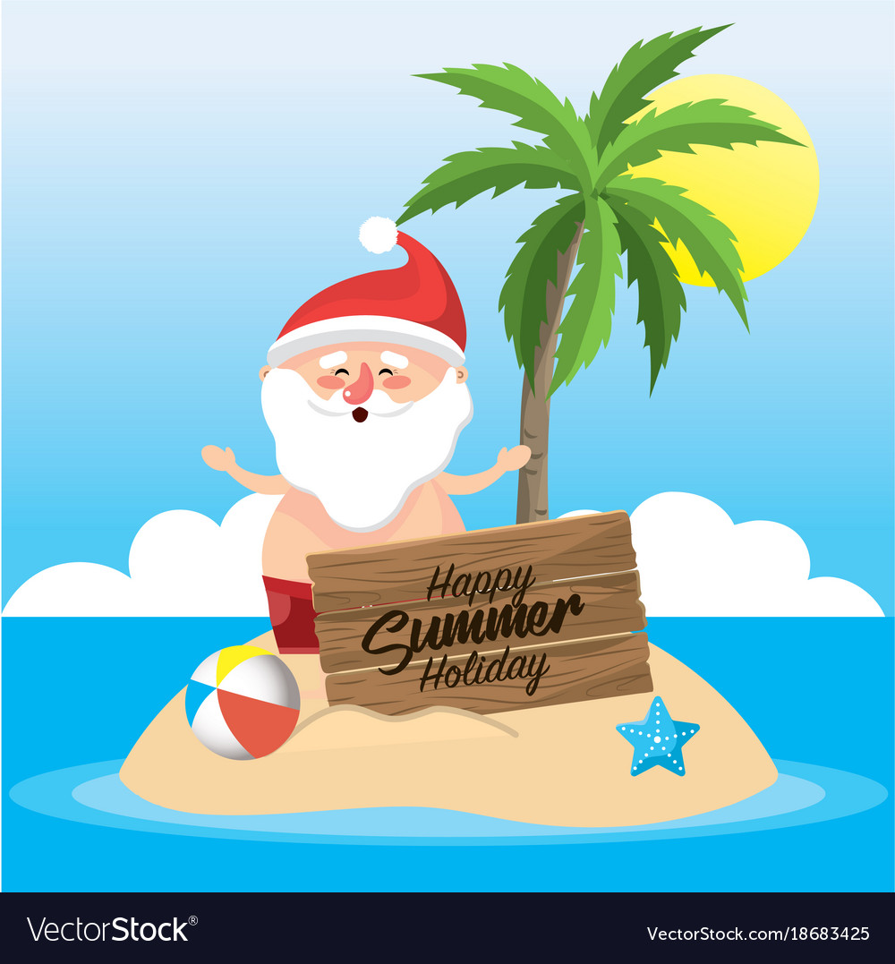 2815dd7c0403 santa claus in the summer holiday vacation vector image .