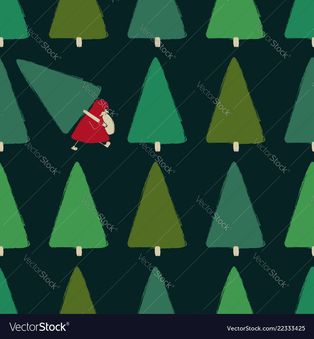 Santa stealing christmas tree seamless pattern