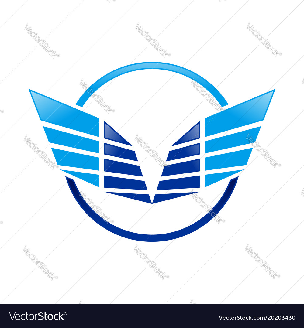Abstract sharp wings ring blue symbol logo design