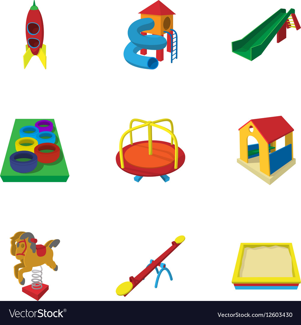 Backyard entertainment icons set cartoon style