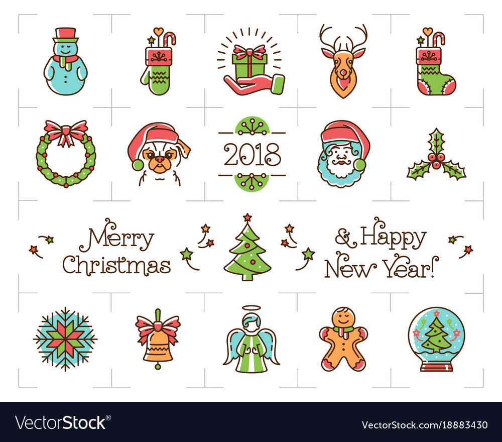 Christmas line icons set holiday symbols new