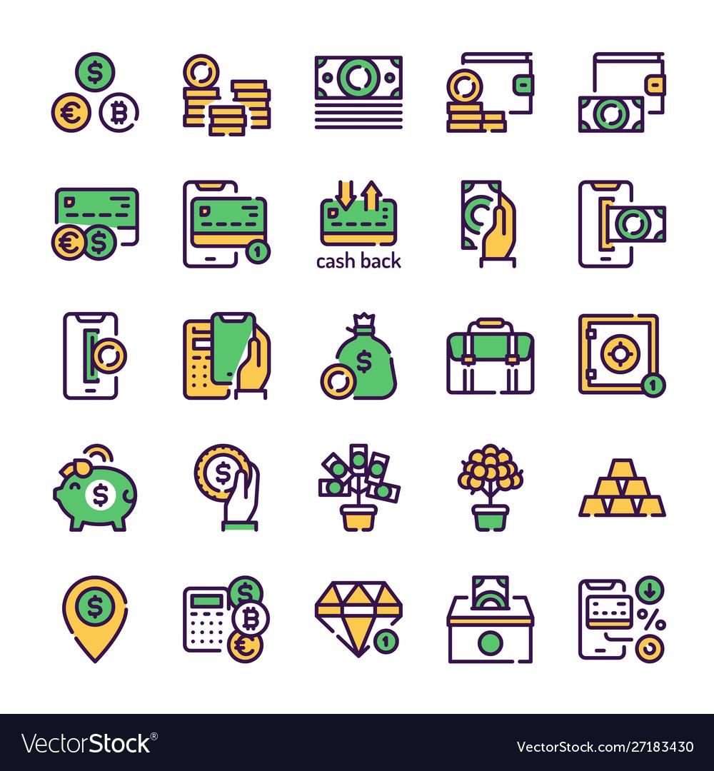 Finances management green color linear icons set