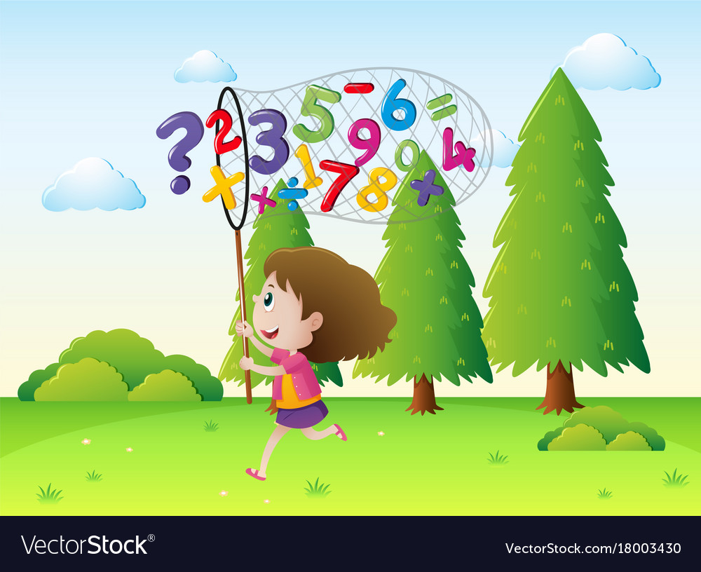girl catching numbers and math signs in the park vector image