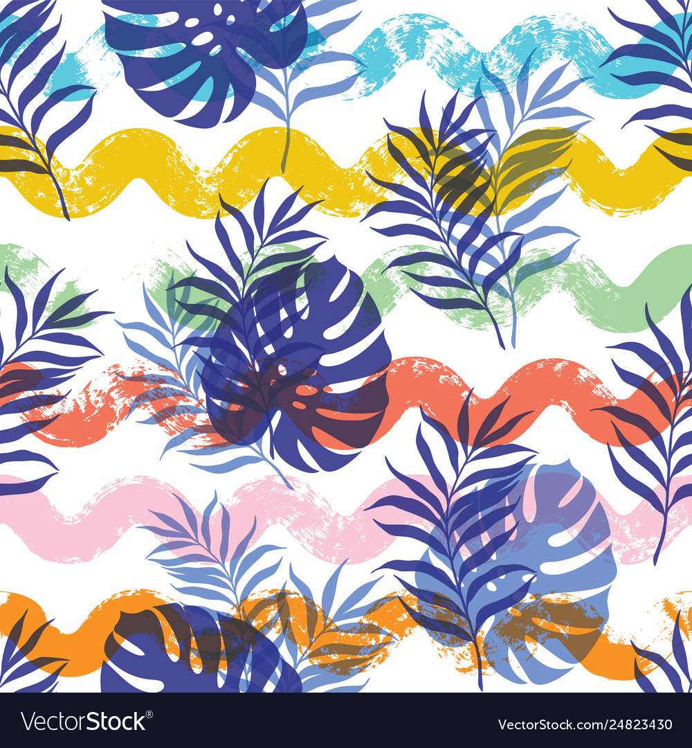 Seamless pattern with tropical leaves and