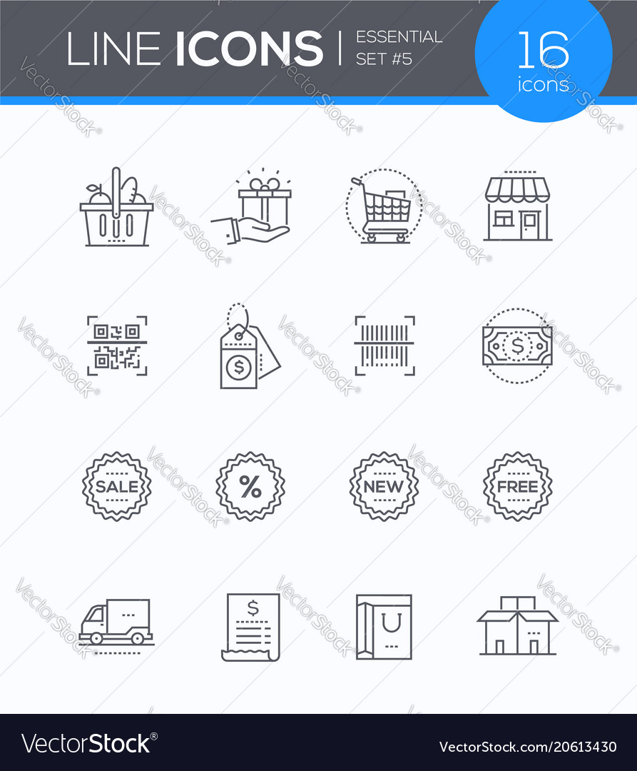 Shopping - modern colorful icons set