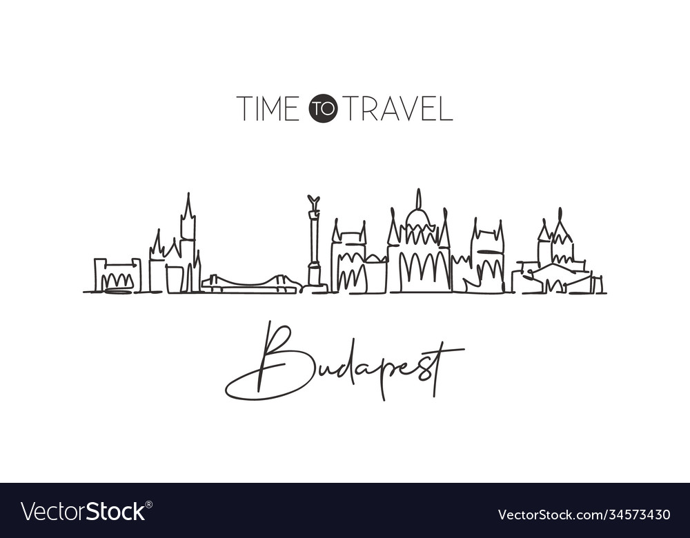 Single continuous line drawing budapest skyline