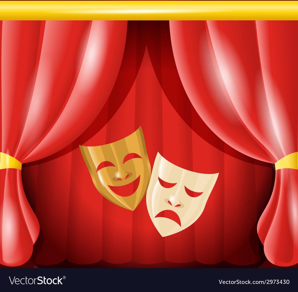 Theatre masks background vector image