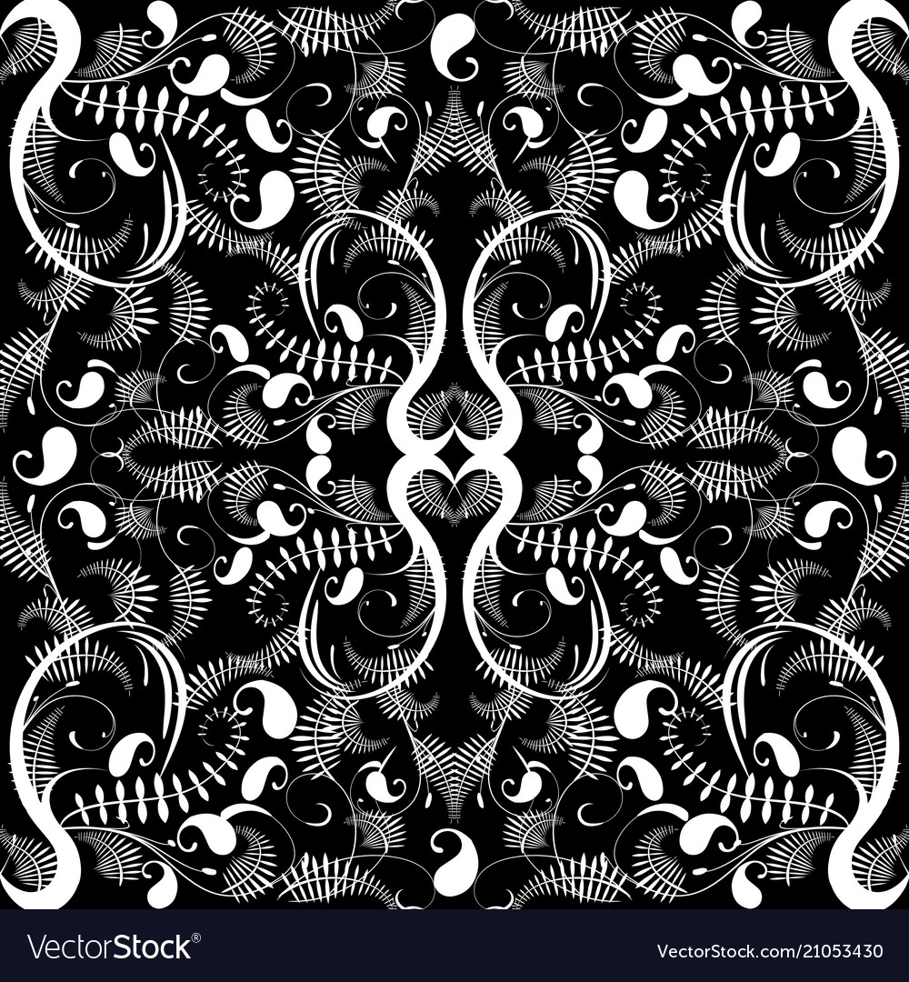 Vintage black and white paisley seamless pattern