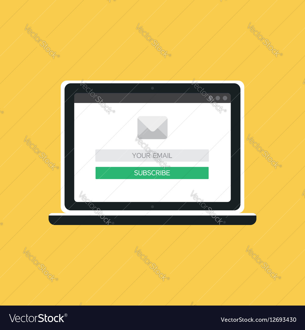 web template of computer email form royalty free vector