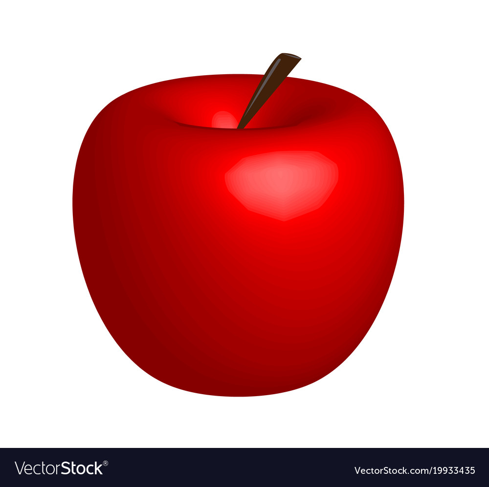3d apple red apple on white background