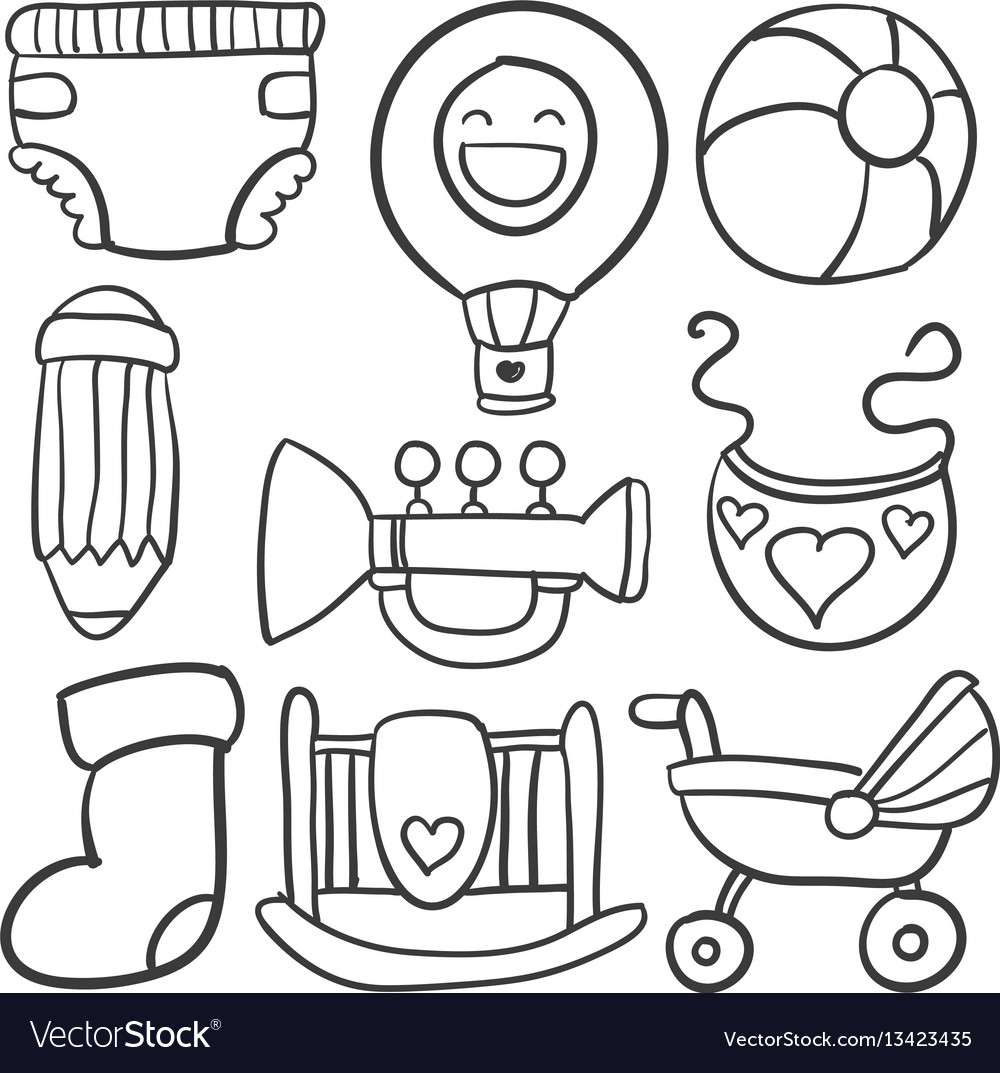 Baby object set of doodles