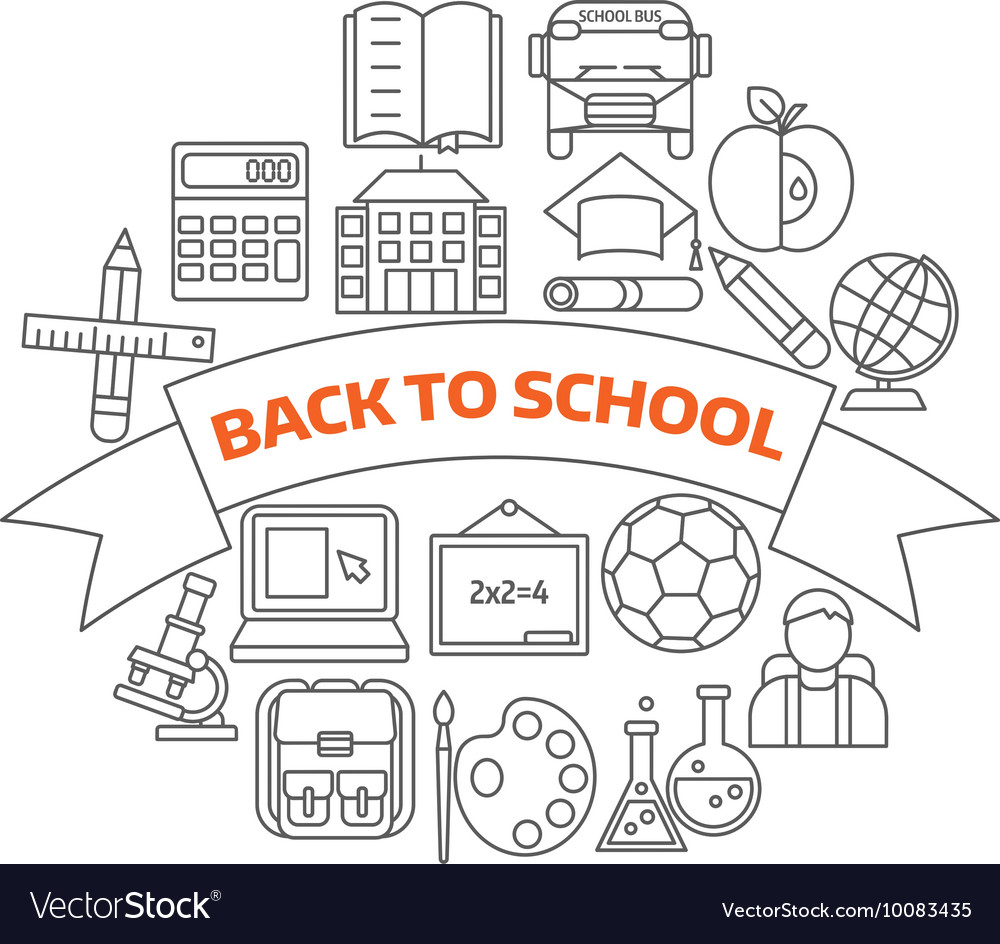 Back To School Linear Icons vector image