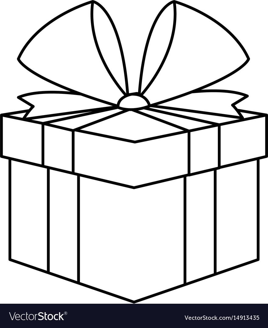 Christmas Gift Box Drawing.Christmas Present Box Gift Ribbon Decoration