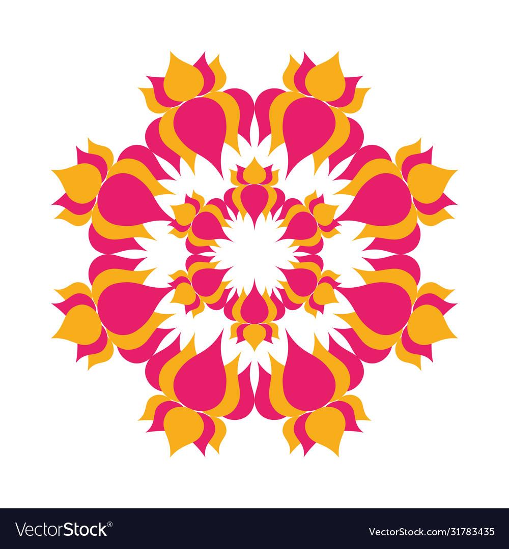 Mandala with flowers hindu decoration