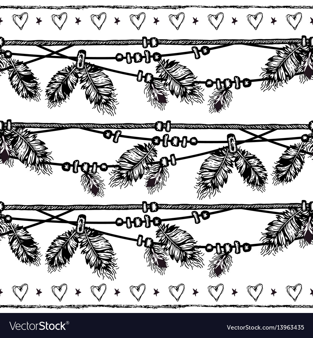 Seamless border with feathers and crystals