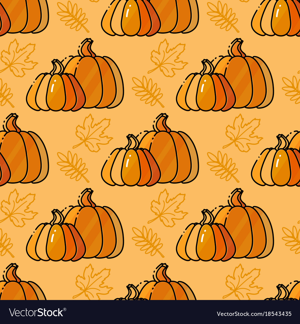 Seamless pattern with pumkin and leaves
