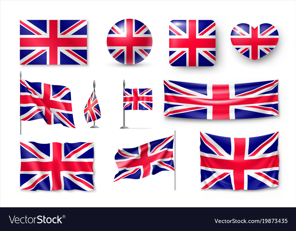 Set united kingdom flags banners banners