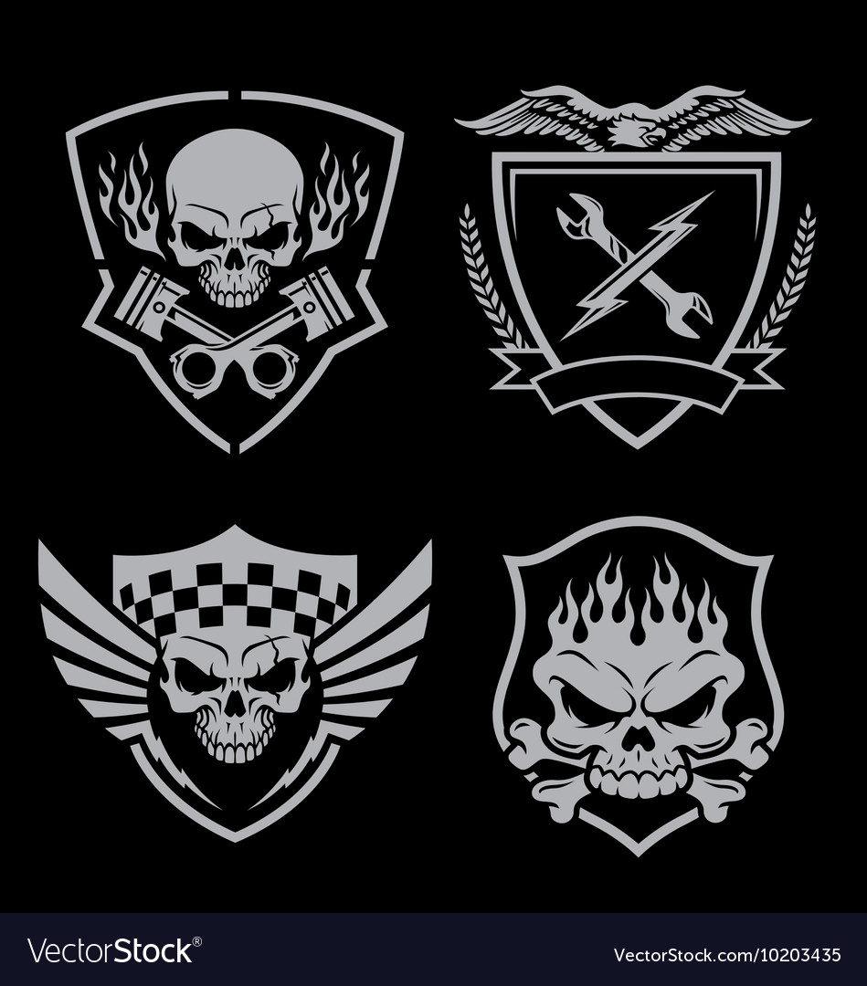 Skull motor crest badge emblem set vector image