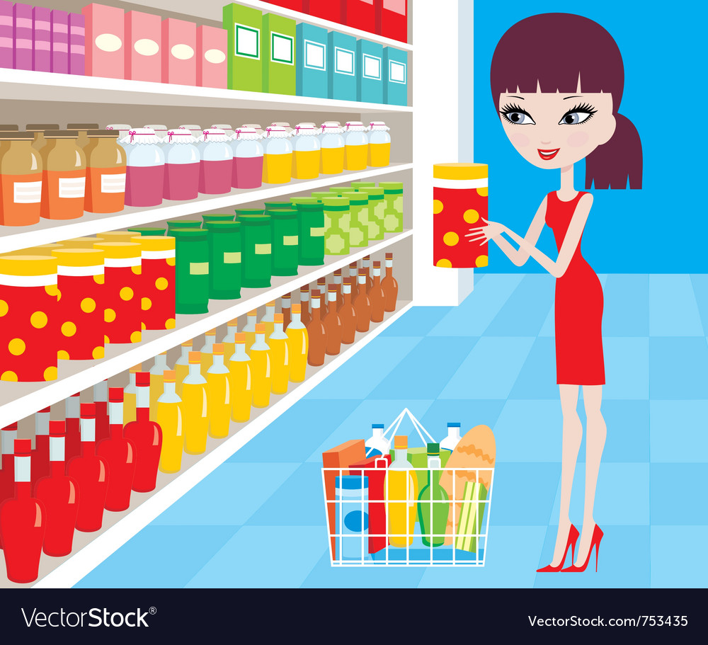 Woman Cartoon In A Supermarket Royalty Free Vector Image