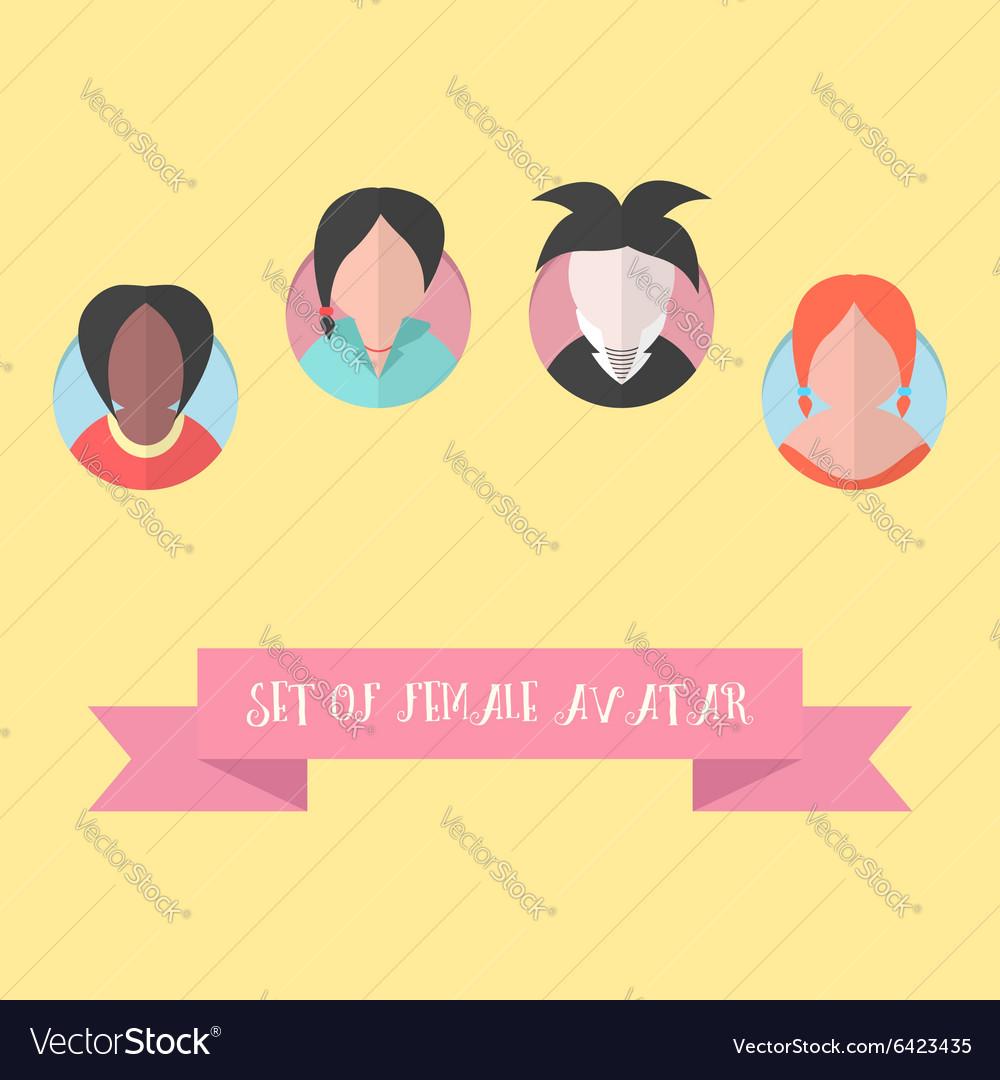 Women avatar set with pink ribbon