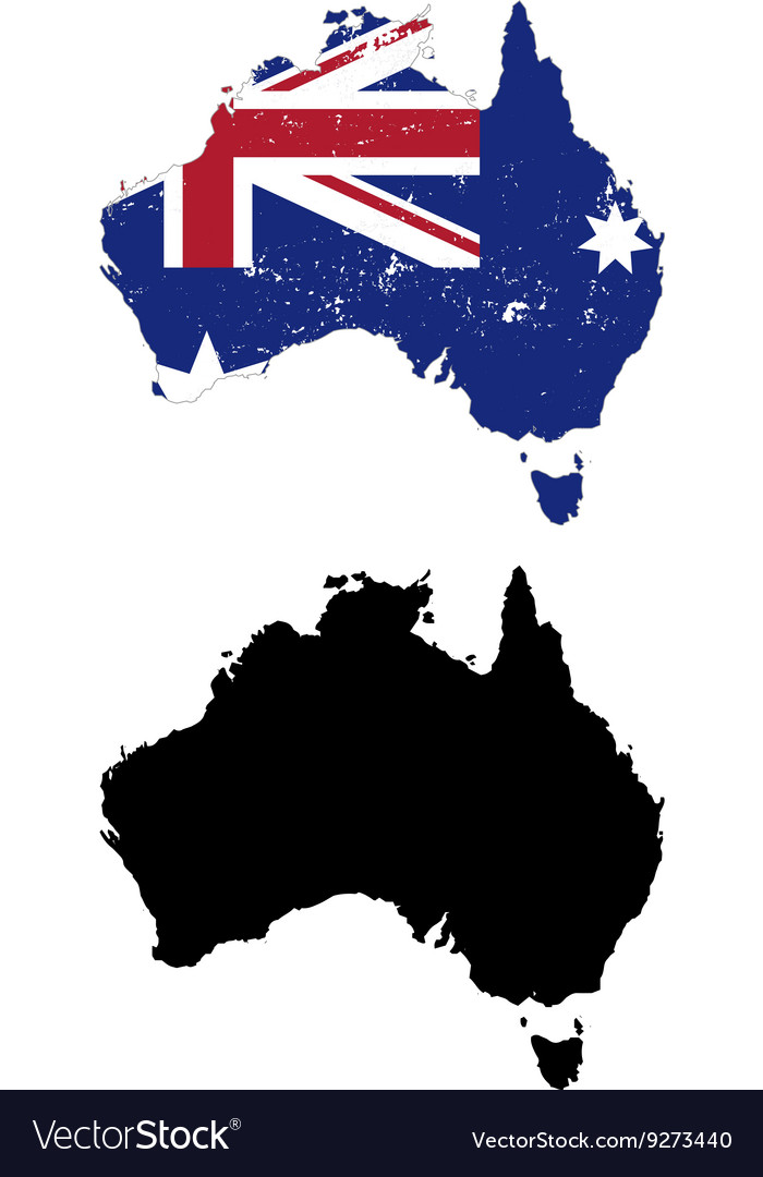 Australia country black silhouette and with flag