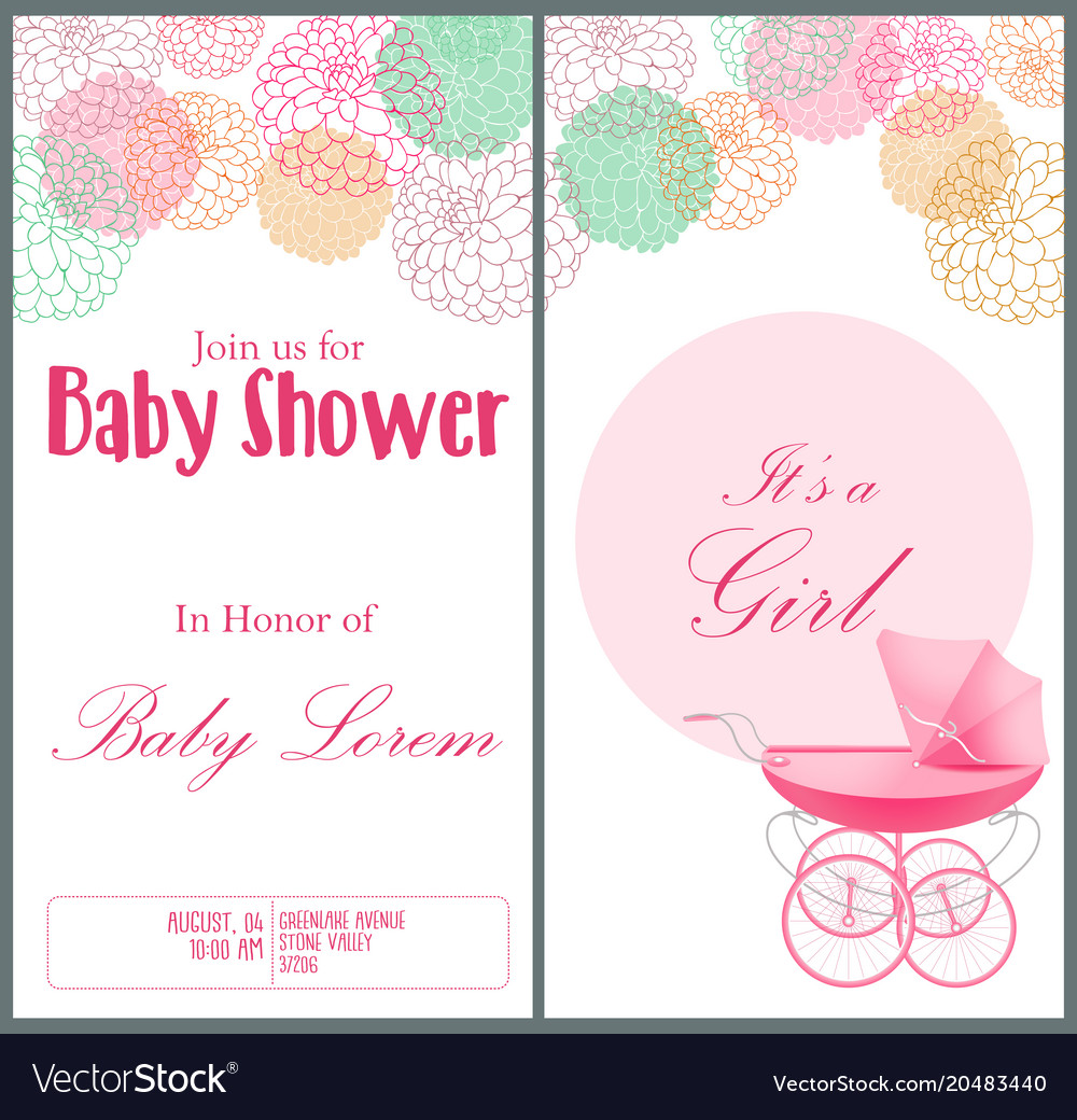 Baby shower invitation card template royalty free vector baby shower invitation card template vector image filmwisefo