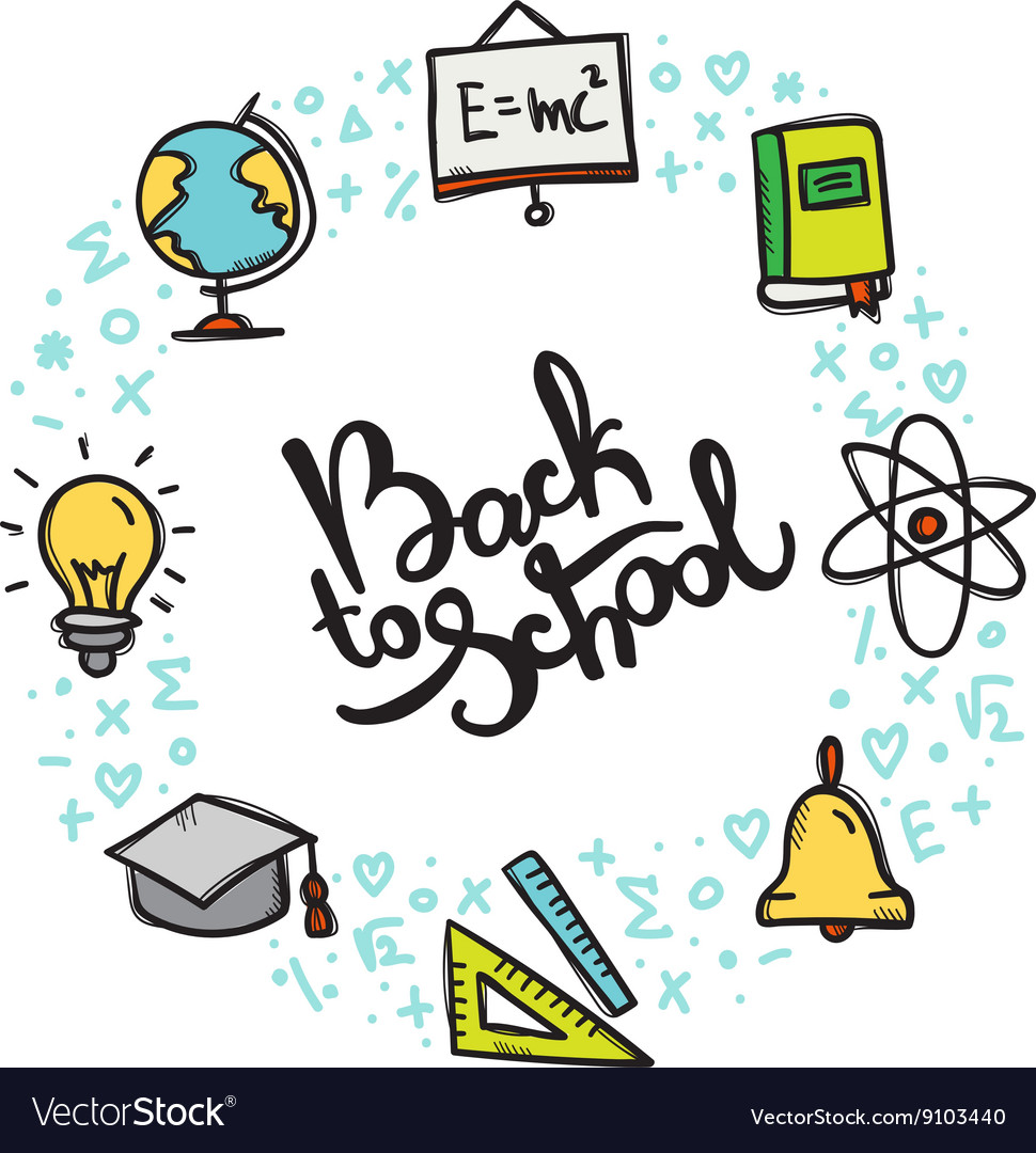 Back to School doodle style circle frame vector image