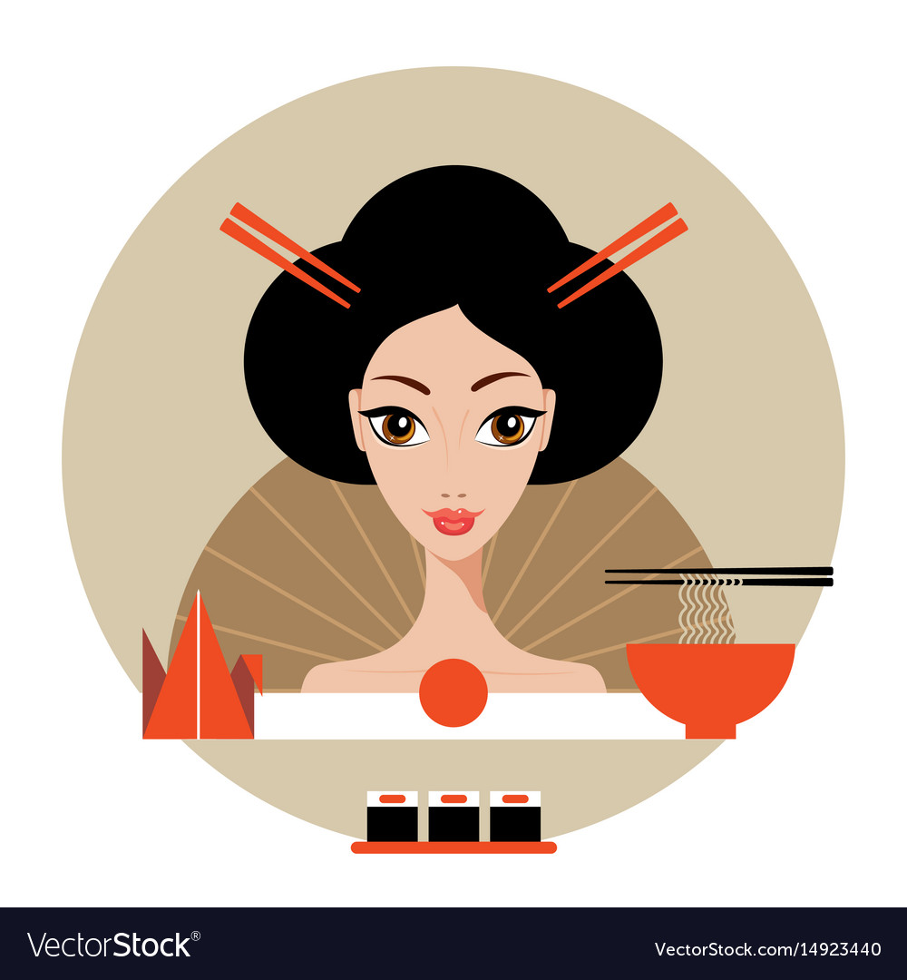 Beautiful japan travel banner with geisha sushi