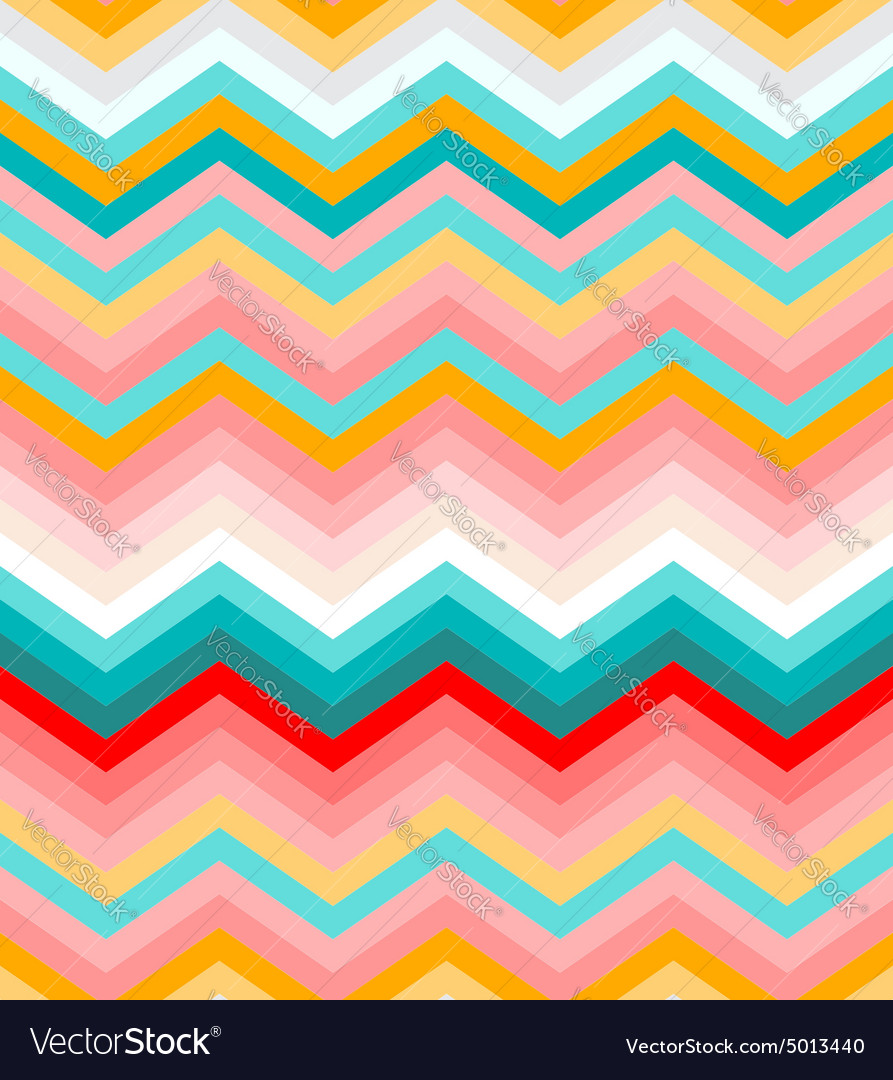 Beige pink red and turquoise chevron seamless