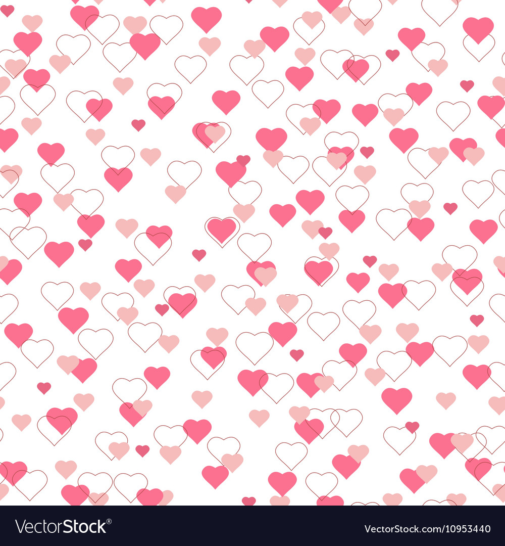 Bright pink red hearts seamless pattern on white