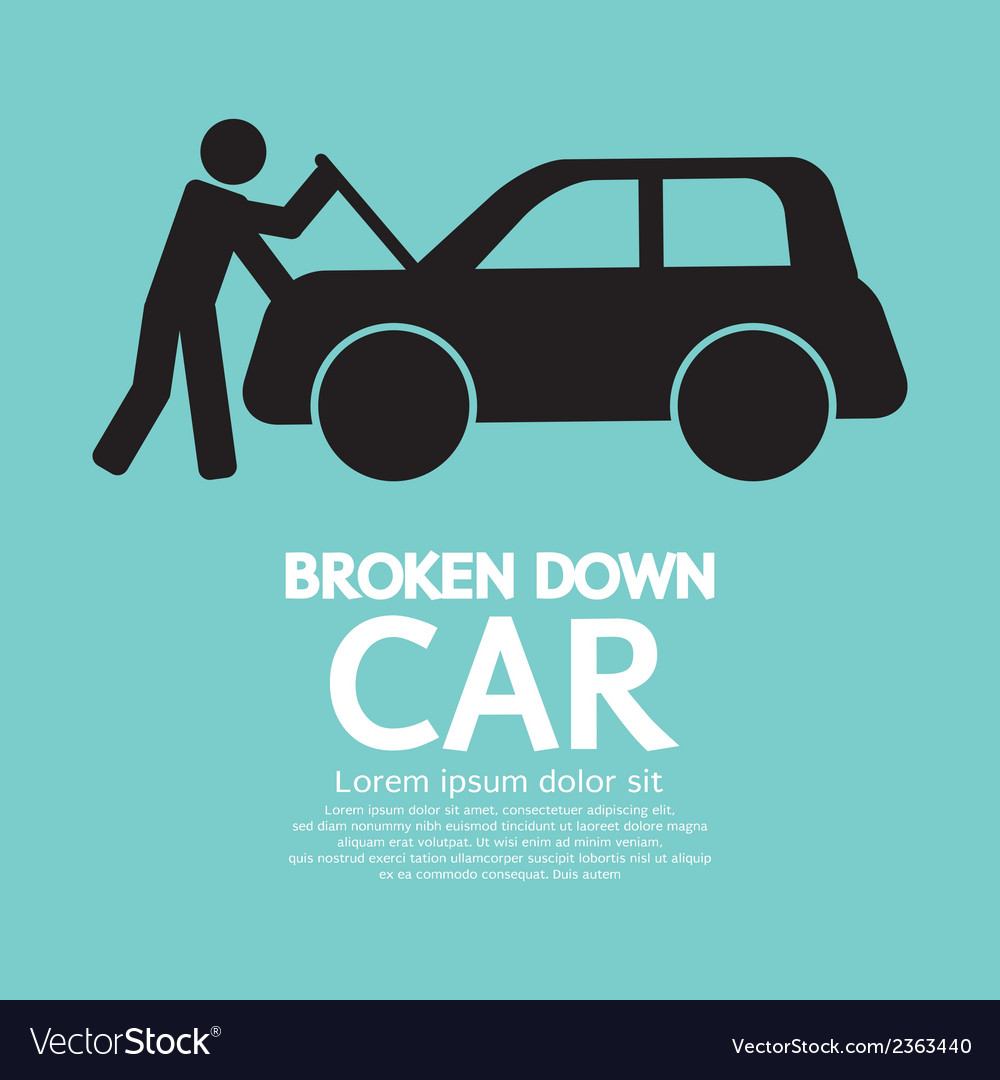 Broken Down Car vector image