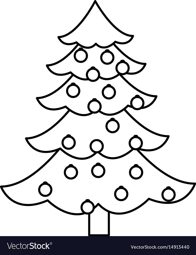 Christmas tree pine decoration balls outline Vector Image