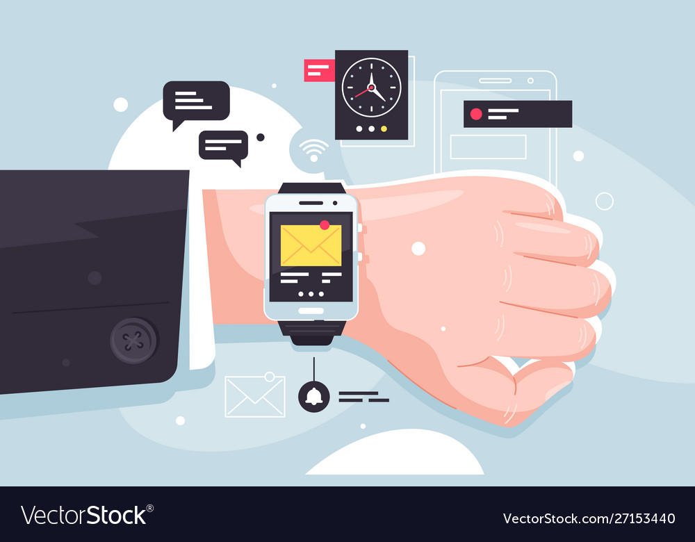 Close up modern mobile smart watch on businessman