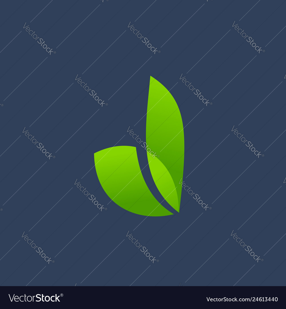 Letter d eco leaves logo icon design template