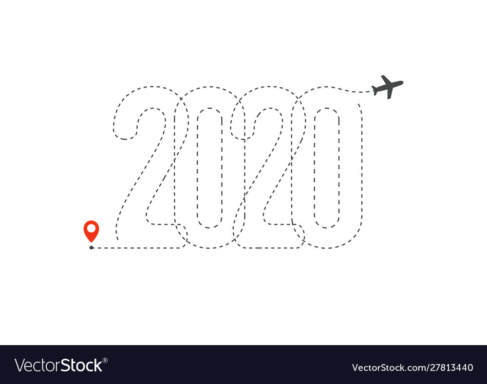 New year travel icon 2020 flight map destination